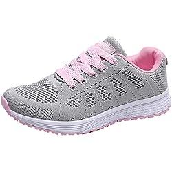 Decai Mujeres Zapatillas de Deportivos de Running para Mujer Gimnasia Ligero Sneakers Malla Transpirable con Cordones Zapatillas Deportivas para Correr Fitness Atlético Caminar Zapatos Rosa 40 EU