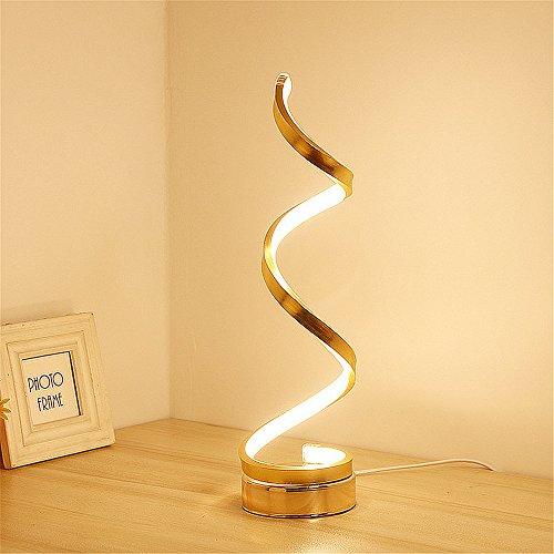 ELINKUME Modern LED Tischleuchte, LED Schreibtisch Lampe, minimalistisch Design, 24W Warmweiß, Smart Acryl LED Modeling Lampe perfekt für Bett (Golden)