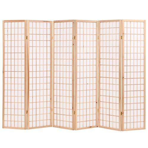 Vislone Plegable Biombos Diseño 6-Panel Estilo Japonés