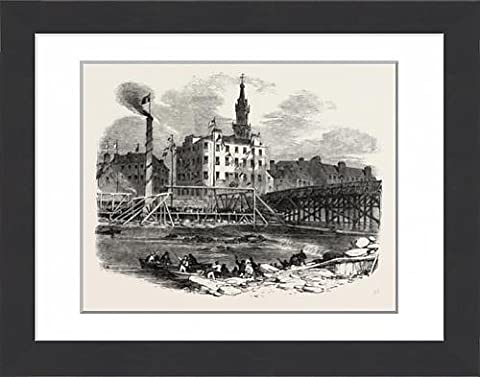 Framed Print Of Laying The First Stone Of Tile Victoria Bridge, Glasgow, Uk, 1851 Engraving