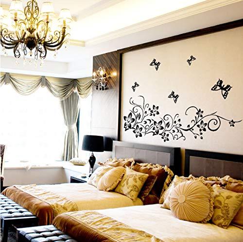 TYKCRt Autocollant Mural Classique Fleur Noire De Vigne Décoration De La Maison Decal 954 Décoratif Amovibletv Papier - Classique 4 Licht