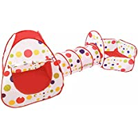 Preisvergleich für 3 in 1 Baby Tunnel spielen - Innenraum Kinder spielen Haus Spielzeug Mit Reißverschluss - Aufbewahrungsbeutel - Besteht aus Haus Tunnel Ball Pit Mit Basketballkorb - Lovin