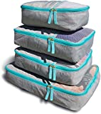 Packing Cubes for Travel - 4Pcs Set -1 Large -2 Medium -1 Small- Stylish Luggage Organiser Bags (Caribbean Teal)