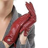Nappaglo Damen klassische Handschuhe aus echtem Nappaleder Reines Kaschmir-Futter Winter Warm Handschuhe (M (Umfang der Handfläche:17.8-19.0cm), Winerot(Non-Touchscreen))