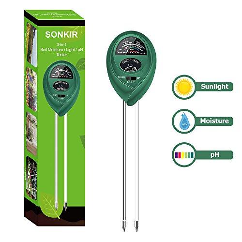 Sonkir Boden-pH-Messgerät, MS01 3-in-1 Bodenfeuchtigkeit/Licht/pH-Tester, Gartenwerkzeug-Kits für Pflanzenpflege, ideal für Garten, Rasen, Bauernhof, Indoor & Outdoor (grün)