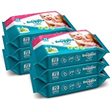 Snuggles Baby Wet Wipes with Aloe Vera and Vitamin E, 72 Pieces (Pack of 6)