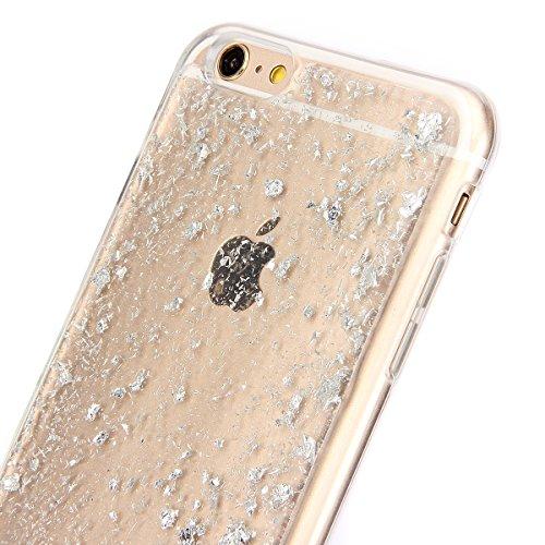 iPhone 6 6S Coque Housse Etui, iPhone 6 Rose Coque en Silcone Clair Ultra-Mince Etui Housse avec Glitter Diamant, iPhone 6S Silicone Coque Pink Slim Transparent Soft TPU Bumper Case with Bling Diamond Glitter-Bleu