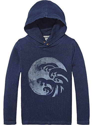 Scotch & Soda Shrunk Jungen Hooded Indigo T-Shirt, Blau (Indigo 089), 140 (Herstellergröße: 10) (Explorer Shirt L/s)