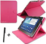 """Rose Pink PU Leather Case Cover Stand for FUSION5 XTRA POWER4 10.1"""" inch Tablet PC + Stylus Pen"""