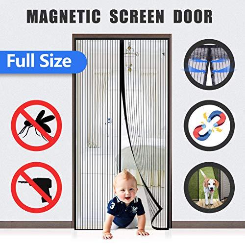 Flei Zanzariera Magnetica 70x220cm, Adsorbimento Magnetico Pieghevole Si Chiude da Sola, for Corridoi/Porte/Patio - Nero