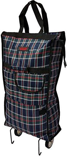 Einkaufstasche mit Rollen, faltbar, leicht, mit Vordertasche und Reißverschluss Grau kariert (Mit Einkaufstasche Faltbare Rädern)