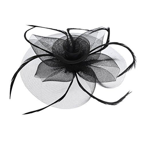 te mit Feder,Blumen Haar Clip Haarreif Haar Accessoire Schleier Tea Party Hochzeit Kirche Haarschmuck Kopfschmuck Kopfbedeckung für Frauen,Schwarz ()