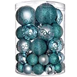 WeRChristmas bruchsichere Plastik-Christbaumkugeln, 50 Stück Türkis/Blau