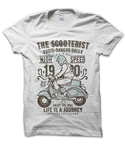 T-ShirtManiak Maglietta The Scooterist - T-Shirt Moto Motorcycle Motocicletta Vespa Old Custom Epoca Retro Ride Parata Bianca (L)
