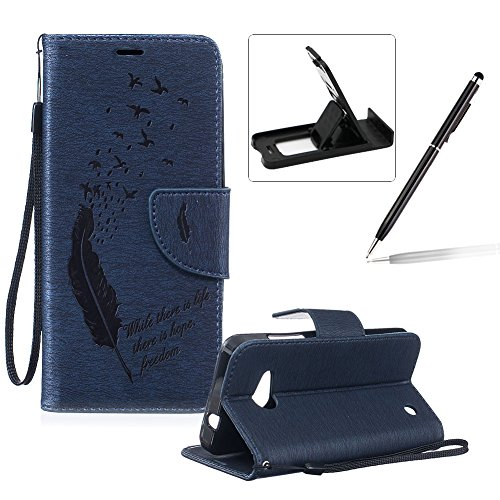 Microsoft Lumia N550 Strap Lanyard Case,Microsoft Lumia N550 Flip Leather Case,Herzzer BookStyle Elegant Synthetic [Feather Pattern] Folio Wallet Case Shell Holster Credit Card Slots Holder Stand Function Magnet Closure Anti-Drops Dustproof Protective Shell Phone Case Mobile Cover Protect Skin for Microsoft Lumia N550 + 1 x Black Cellphone Kickstand + 1 x Black Stylus Pen - Dark Blue