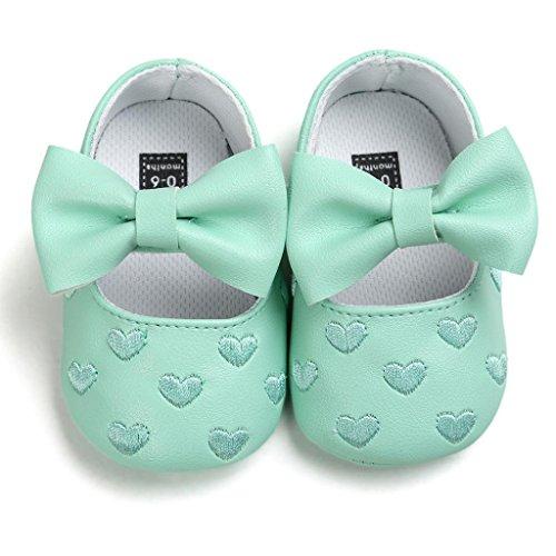 FEITONG Baby Bowknot Leder Schuhe Sneaker Anti-Rutsch Soft Sole Kleinkind (11, Rosa) Grün