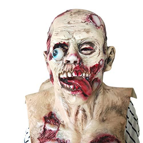 Monster High Zombie Kostüm - Zombie Maske, Walking Dead Vollkopf Maske, Resident Evil Monster Maske, Zombie Kostüm Party Latex Maske für Halloween,1