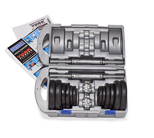 York-Fitness-Cast-Iron-Dumbbell-Spinlock-Set-with-Case-Pack-of-2-Black-20-Kg