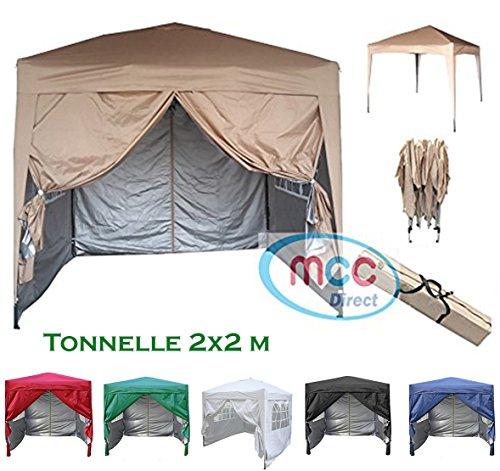 Mcc@home Gazébo/kioske/pavillon/tente/tonnelle/auvent/abri de jardin pliable résistant à l'eau, 2x2m, couleur beige avec couche protectrice argentée