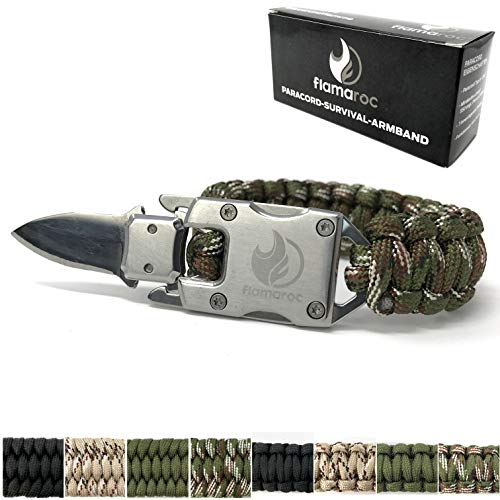 flamaroc® Blade - Premium Survival Armband normalbreit - Edelstahl Verschluss mit Messer - Paracord 550 Armband - Farbe Tarn grün, normalbreit