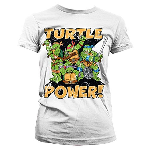 Offizielle Damen Teenage Mutant Ninja Turtle Turtle Power! Weißes T-Shirt - Retro T (XL - Size 14 to (T Mutant Teenage Ninja)