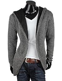 Tazzio Veste à capuche pour homme en tricot Cardigan