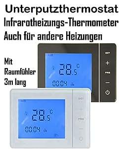 digitales unterputzthermostat mit wireless funktion f r infrarotheizung elektroheizung. Black Bedroom Furniture Sets. Home Design Ideas