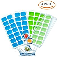 Ice Cube Moulds, Dully Easy Realease Silicone Ice Cube Tray with Lid Perfect for Water, Cocktail and Any Drink (4 pack)