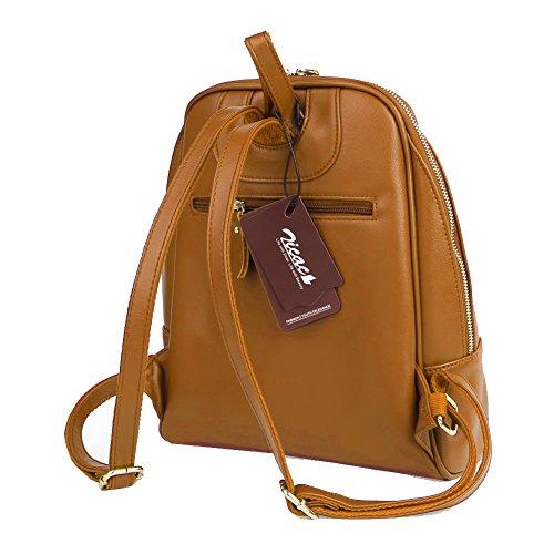 Zicac zaino borsa donna a spalla vintage in PU pelle per scuola viaggio pc libri fare spese colore rosso rosa marrone blu nero Marrone