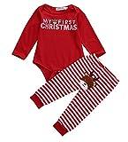 Geagodelia Babykleidung Set Weihnachten Baby Kleidung Unisex Langarm Body Strampler + Hose Kleinkinder Neugeborene Warme Babyset My First Christmas