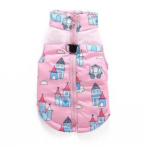 Yunt Pink/Blau Hundemantel Winterjacke aus Warmer & Weicher Baumwolle mit Süße-Kleinehaus-Muster Dog Clothes Coat für Haustier Hautier Hunde Katzen (Kostüme Halloween Unglaublichen Die)