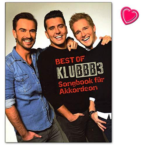 Best of KLUBBB3 - Songbook für Akkordeon mit bunter herzförmiger Notenklammer -