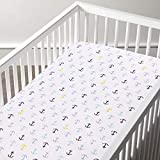 haus & kinder Muslin Cotton Fitted Anchor Crib Sheet-Hypoallergenic and Soft Breathable Fabric- Dots Elastic at Bottom for Baby