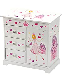 Girls Large Musical Princess Jewellery Box with Mirror and Twirling Figurine