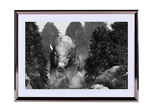 Stampa artistica da parete argento cornice in legno Picture-The White Buffalo... 40,6x 30,5cm