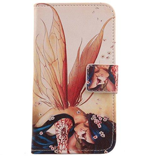 Lankashi PU Flip Leder Tasche Hülle Case Cover Schutz Handy Etui Skin Für Medion life x5001 Wing Girl Design