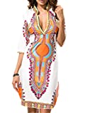 Aivosen Modisch Damen Ethno-Style Tunika Strandkleid Kneilang Sommerkleid Tunikakleid Bohemian Strandtunika V Ausschnitt Partykleider Stretch Dünner Kleid