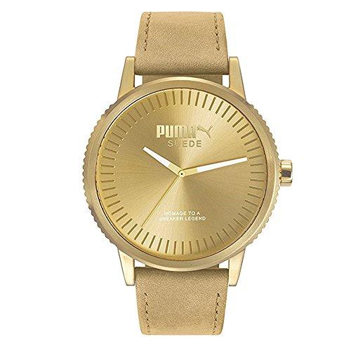 Puma Wristwatch for Unisex Suede Monochrome Beige Leather PU104101009