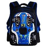 OOFAY Borsa Da Scuola Per Ragazzi 3D Racing Spalle Borsa Bambini 6-12 Anni Zaino 12.5 * 9.4 * 16.9 Pollici,Blue