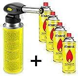 Lötbrenner Bunsenbrenner Gasbrenner Lötlampe aus Metall mit Piezozündung (mit 4 Kartuschen)