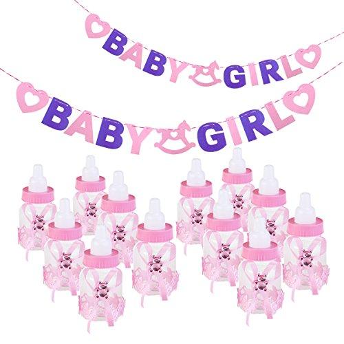 NUOLUX Baby Feeder Stil Pralinenschachtel Flasche Baby Shower Geschenkbox mit Buchstaben Baby Garland Girlande Banner für Party Favors Dekorationen (Rosa)
