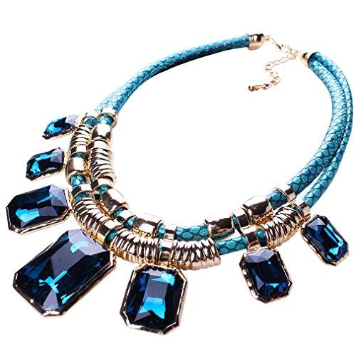 Yazilind Blau Charm Anhänger Kette Crystal Choker Klobige Bib Anweisung Kurze Halskette Halsband
