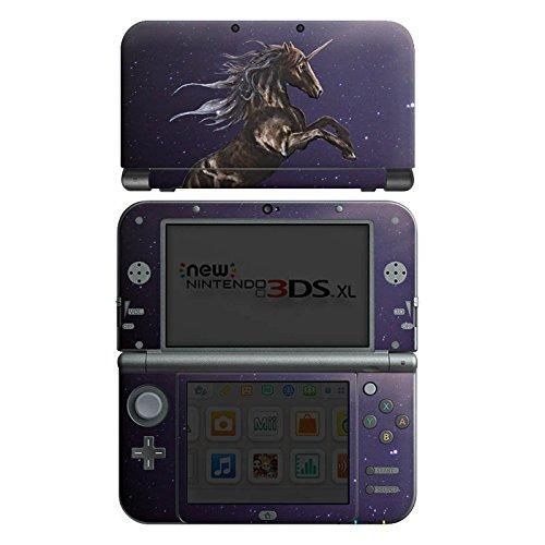 Nintendo New 3DS XL Case Skin Sticker aus Vinyl-Folie Aufkleber Einhorn Unicorn Schwarz Pferd