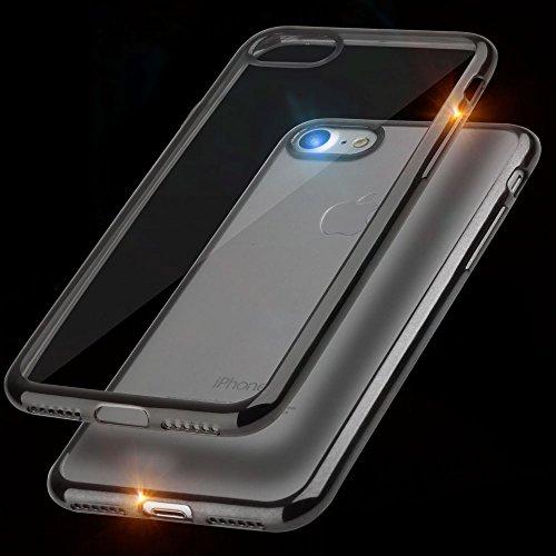 EGO® TPU Silikon Case für iPhone 7 Bling Schutz Hülle Silikon Tasche Schutzhülle Transparent Glänzend Schale Ultra Dünn SCHWARZ SCHWARZ ohne GLASS