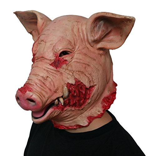 BESTOYARD Horror Maske Halloween Latex Schwein Maske Halloween Kopfbedeckung Cosplay Kostüm Party Supplies (Zombie Pig Kostüm)