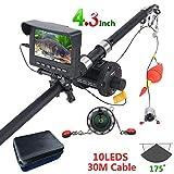 QZH Unterwasserfischerkamera-Fischfinder, 4,3-Zoll-Fischermonitor, 1000TVL-Kamera, 10 Infrarot-LED-Lichter, Seilrolle, für EIS- / See- / Flussfischen, 30m Kabel