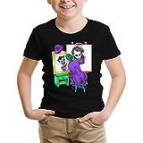 Maglietta per Bambini e Ragazzi Nera Batman umoristico con Il Joker (Parodia Batman) (Ref:874)
