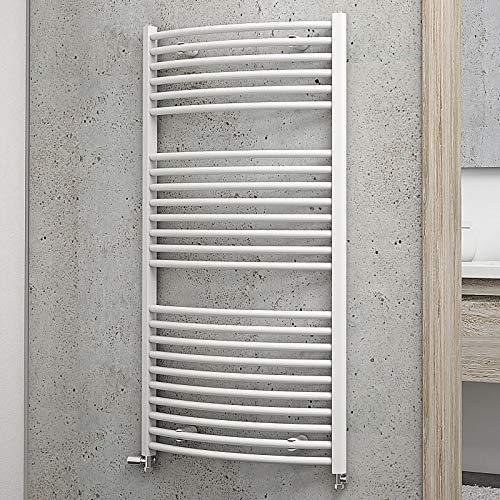 Schulte Bad-Heizkörper Europa gebogen, 113 x 60 cm, 609 Watt Leistung, Anschluss beidseitig unten, alpin-weiß, Handtuchhalter-Funktion (Elektrischer Wand Heizkörper)