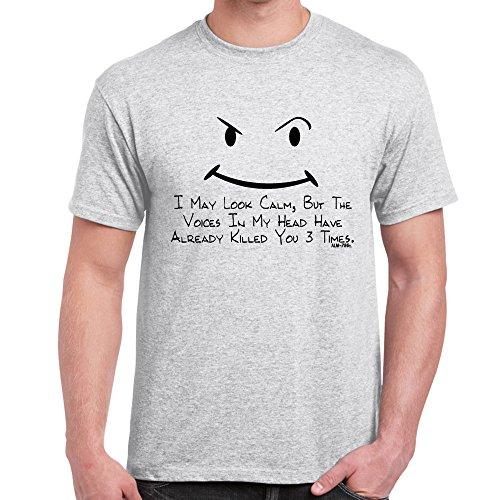 Herren Lustige Sprüche coole fun T Shirts-I May Look Calm tshirt-Ash Grey-Medium (Ash Grey-t-shirt Alter)