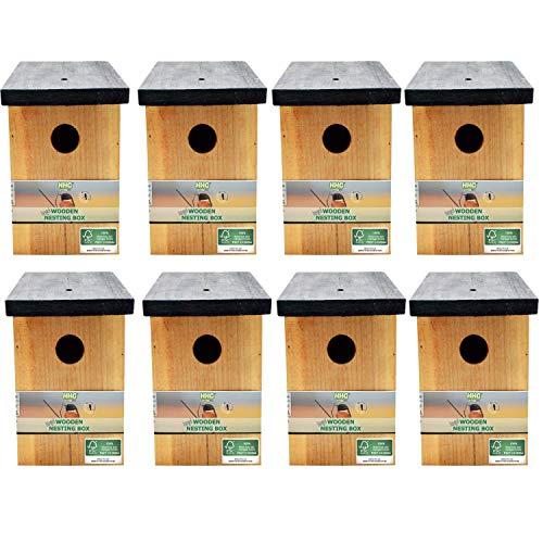 8 x Handy Home and Garden Druckbehandeltes Holzvogelhaus Für Wild- und Gartenvögel - Natürliche Hölzerne Vogelnistkästen - Hergestellt aus 100{138bcbdfa699e2cc9a2d9f34748e22af7843bafcaa60129a7f2fe988d0edacf3} FSC-Holz, Umweltfreundlich aus Nachhaltigen Wäldern